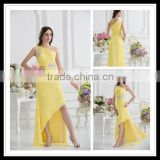 Real Sample One-Shoulder A-line Empire Sequins Applique Pleated Floor Length Prom Dresses xyy07-052