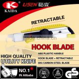 Stationery Cutter Hook blade retractable slider with screw lock Plastic handle Utility Cutter Knife