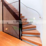 contemporary curved wood Staircases in white beam and teak steps