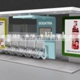 Hot Sale Metal Bus Stop Shelter Design with Two Light Box in High Quality for City Construction