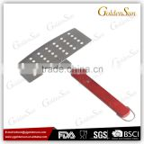Food Grade Stainlless Steel Blade BBQ Fish Turner and BBQ Fish Spatula With Wooden Handle