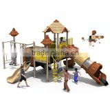 Simple multifunctional old-castle style children swings and slide with 12 optional site sizes