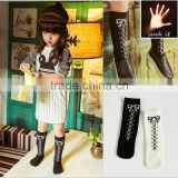 New sweet and lovely girls cotton pantyhose socks bow pattern black and white simple design funny fuzzy baby socks