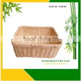 Knit a square tray for rattan basket.