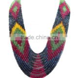 Natural multi sapphire faceted beads necklace, ruby, emerald, sapphire