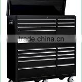 TJG-TC56K18S Metal Garage Storage Roller Cabinet 56 Inch Tool Chest With 18 Drawers Black