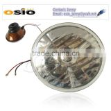 5' Round headlight Red brown Iron Semi Sealed Beam 12V/24V Auto Halogen Lamp Install H4 or HID H4 Xenon Bulb