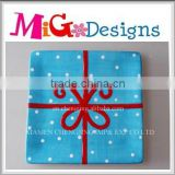 Customized OEM Delicate Blue Ceramic Plate Christmas Gift Idea