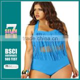 2015 Big Plus Size X- XXXL Big Swimwear Women Bikini brazilian High Waist Swimsuit Tassel Push Up Bathing Suit bikinis