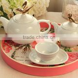 Coloured drawing or pattern pink round high-grade wooden serving tray,wooden bed tray