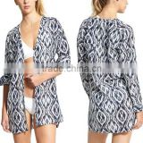 Swim Cover Up Women Lightweight Cotton Button-Down Shirt Dress Printed Kaftan Casual Long Sleeve Beach Wear Cover Up