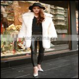hot fashion wholesale price ladies lapel faux fox fur winter coat for women and girls clothing