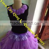 Fluffy Elegant cute Skirts Set Black Top With Flowers & Tutu Skirts Baby Dance Clothing Set