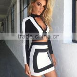Runwaylover OEM service ladies chocker neck black and white printed bandage dress