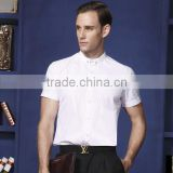 Mens Tailor Dress Shirts Banded Collar Shirts Poly Cotton Shirt for Men