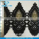 New design black lace trim in cotton polyester with gold