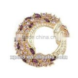 18 k gold plated nickle free zinc alloy amethyst crystal full diamante brooch pin