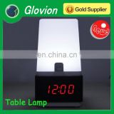 Glovion Digital Voice Control LED Alarm Table wooden Clock& Table Desk Touch Light Lamp