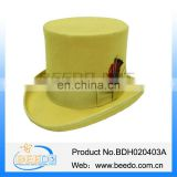 100% wool yellow western upturned brim top hat with feather
