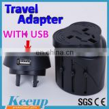Promotional cheap universal travel adapter with USB port