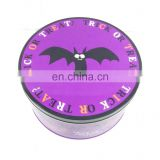 round Halloween candy tin box