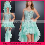 Stunning Beauty Sweetheart Strapless Floor Length Hi-Low style with Much Beaded New Arrivals 2014 Long Evening Dresses