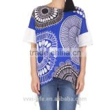 2016 new design top quality women casual fancy print blouses with batwing sleeves