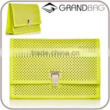 2016 fashion yellow perforated leather Small Lunch Bag Clutch Flap front calfskin party clutch with external back pocket