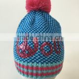 Hot salling designer knitted hat sequins embroidery hat emoji peace pattern for teenages and ladies