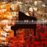 Professional Manufacturer Strong Artists Team Hand Paint Abstract Piano Oil Painting Canvas for Hall Wall Decoration