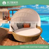 Waterproof round rattan wicker sofa bed sun lounger garden chaise lounge with canopy and shade