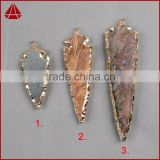 2.5~3.5 Inch Tan Jasper Arrowhead Pendant Gold Plated Gemstone Arrow head Pendant Wholesale eletroplated Jewellery