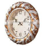 Home Decoration Antique Resin Wall Clock Sweep Movement