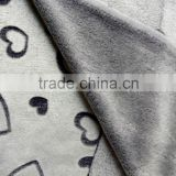 grey heart pattern baby wear/kids wear clipping and carving flannel fabric for baby blankets