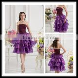 Real Sample Strapless A-line Beaded Layered Ruffles Pinping Knee-length Homecoming Dress xyy07-025