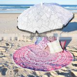 Pink Ombre Roundie Mandala Beach Throw Hippie Tapestry Round Yoga Mat Beach Throw Table Cover