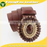 Vintage Style women's fashion PU brand belt with shiny rhinestone square shape buckle