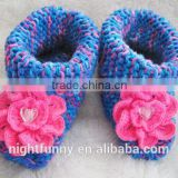 Blue multi-color knit slippers,crochet beaded pink flower,Alaskan Wild Rose,wife mom sister daughter wife gift,baby shoes