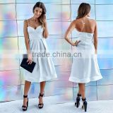 Strappy details high-waisted latest designs western dinner party dress gown