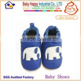 wholesale best selling navy blue elephant soft leather baby first step toddler shoes