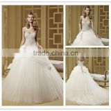 Tulle skirt Luxury crystals bridal dress 2016 strapless sweetheart neckline crystals ball gown wedding dress DM-019 bridal dress