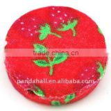 Woven Cloth Woven Beads, Acrylic with Cloth, Red, Flat Round, 33x11mm, hole: 3mm.(WOVE-R002-6)