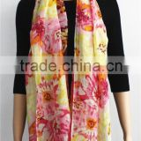 Floral Print Cotton and Linen Blended Scarf