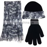 wlyiwuchuchu0519-12 2015 fancy wholesale women's knitted animal print hat and scarf sets wholesle scarf