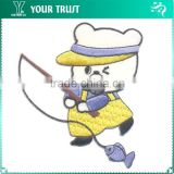 Bear Go Fishing Twill Fabric Iron-on Embroidery School Uniform Patches