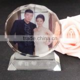fashionable round shaped crystal photo frame trophy for wedding anniversary