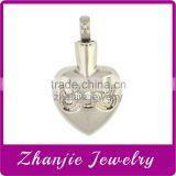 Personalized Custom Design Funeral Jewelry Stainless Steel Heart Cremation Keepsake Urn Pendant With Bone Crystal For Pet