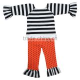 Novel design kids clothing,girls suit set black white stripe and orange pants for children wear