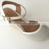 new style fashion shoe punched white pu upper platform high heel lady women sandals espadrilles shoes footwear
