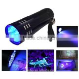 2016 super Mini Aluminum UV Ultra Violet 9 LED Flashlight Scorpion Black Light